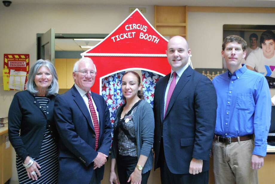 Zerbini Family Circus will be coming to town Saturday, June 21, and setting up at Saxe Middle School. The circus, presented by the Kiwanis Club and the New Canaan YMCA, is sponsored by a number of local businesses. They are being represented by, from left, Jenny Esposito, TD Bank; Sperry DeCew and Aitza Cabrera, First County Bank; David Hoyle, Hawthorne, Ackerly & Dorrance; and Alex Stewart, Walter Stewart's Market. Other sponsors are Eric and Susan Sheinberg, Karl Chevrolet, Nurenu Brand Marketing, New Canaan Advertiser, Action Letter, Rings End, Indian Rock Families, Simply Delicious Catering, Jane and Jack McDermott and Stamford Insurance Group. For tickets and show times, visit www.newcanaanymca.org/circus. Photo: Contributed Photo, Contributed / New Canaan News Contributed