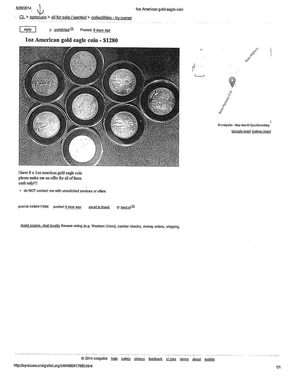 Colonie police released this image of a Craigslist ad they say was for counterfeit coins.