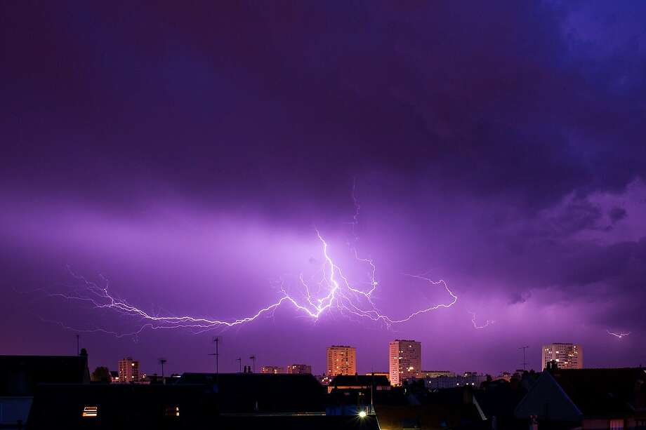 Tours bolt: Lightning strikes over the French city of Tours. Photo: Guillaume Souvant, AFP/Getty Images