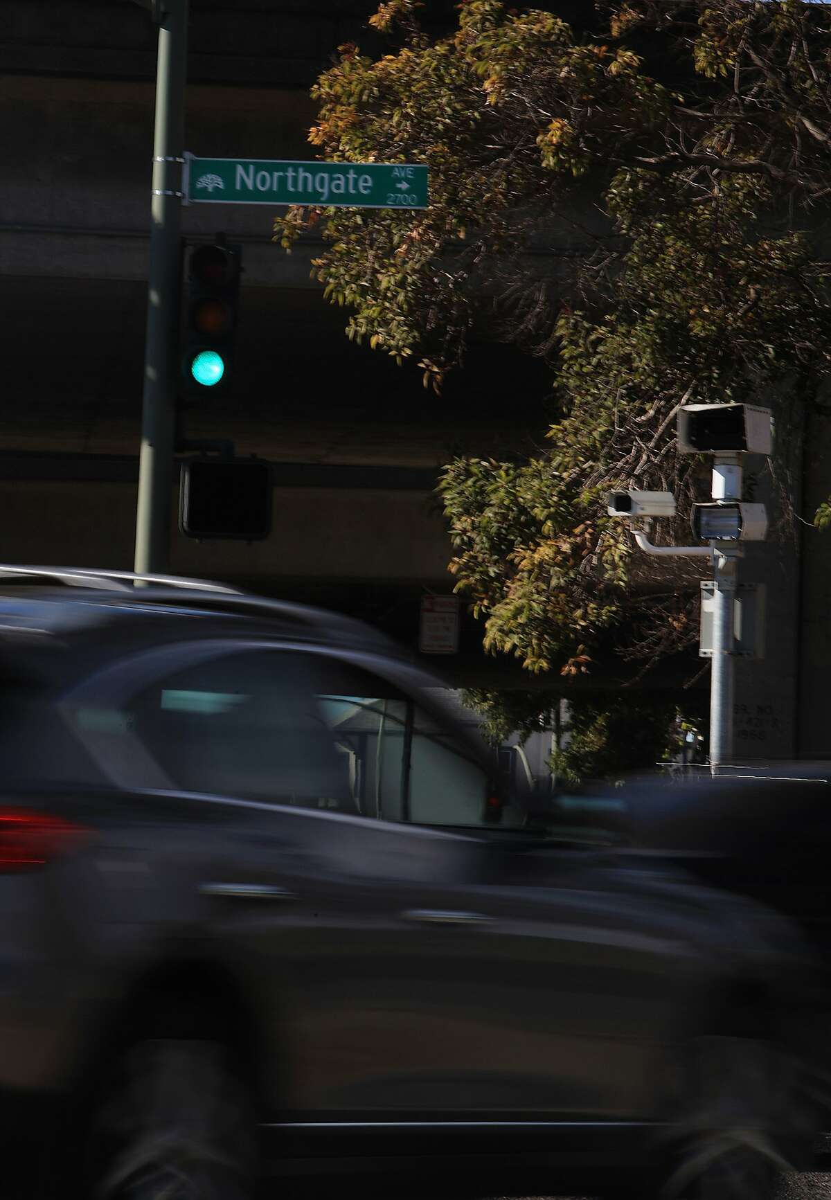 In this file photo, a red light camera unit is seen at the 27th St. and Northgate Avenue next to an on ramp to I-580 in Oakland.