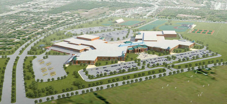 A rendering of the fifth Klein ISD high school shows an aerial view of where the campus will be at Spring Cypress and Cutten roads across the street from Ulrich Intermediate School.