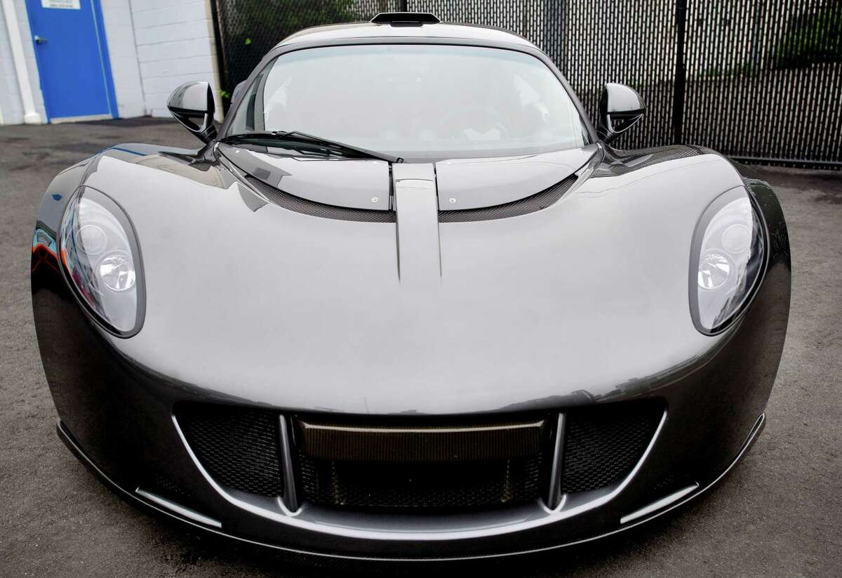 The Hennessey Venom GT which broke the world record for fastest production car in the world at 270.49 miles per hour as well as the world record for fastest 0-250 mile per hour car sits at P1 Motorcars in Stamford, Conn., on Tuesday, June 10, 2014. Only 29 of the cars will be produced.