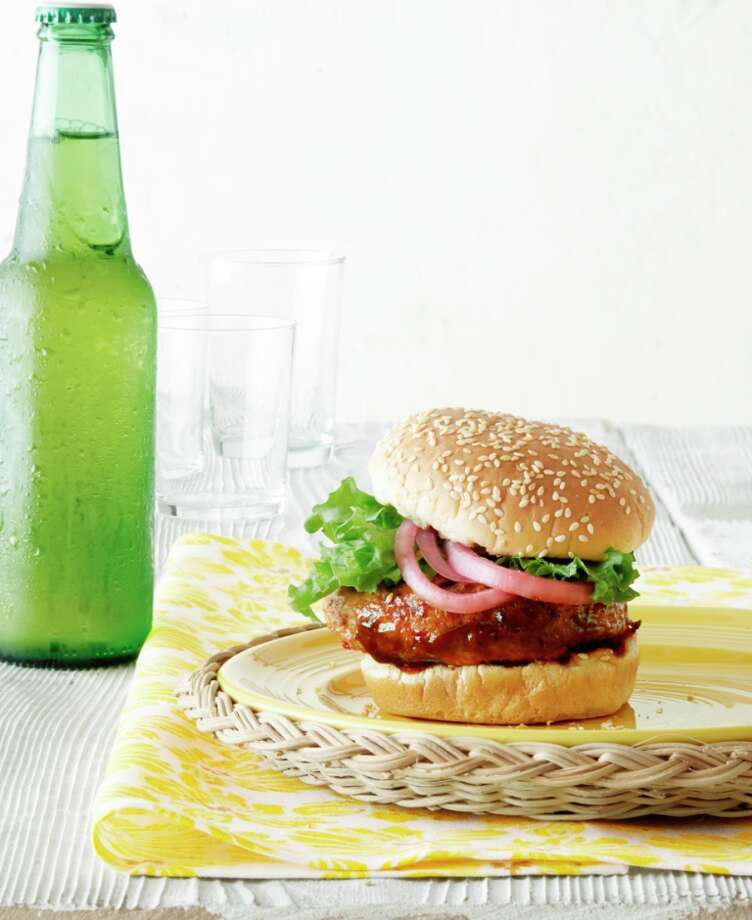 Country Living recipe for Hoisin Chicken Burgers with Pickled Red Onions. Photo: Andrew Purcell / ONLINE_YES