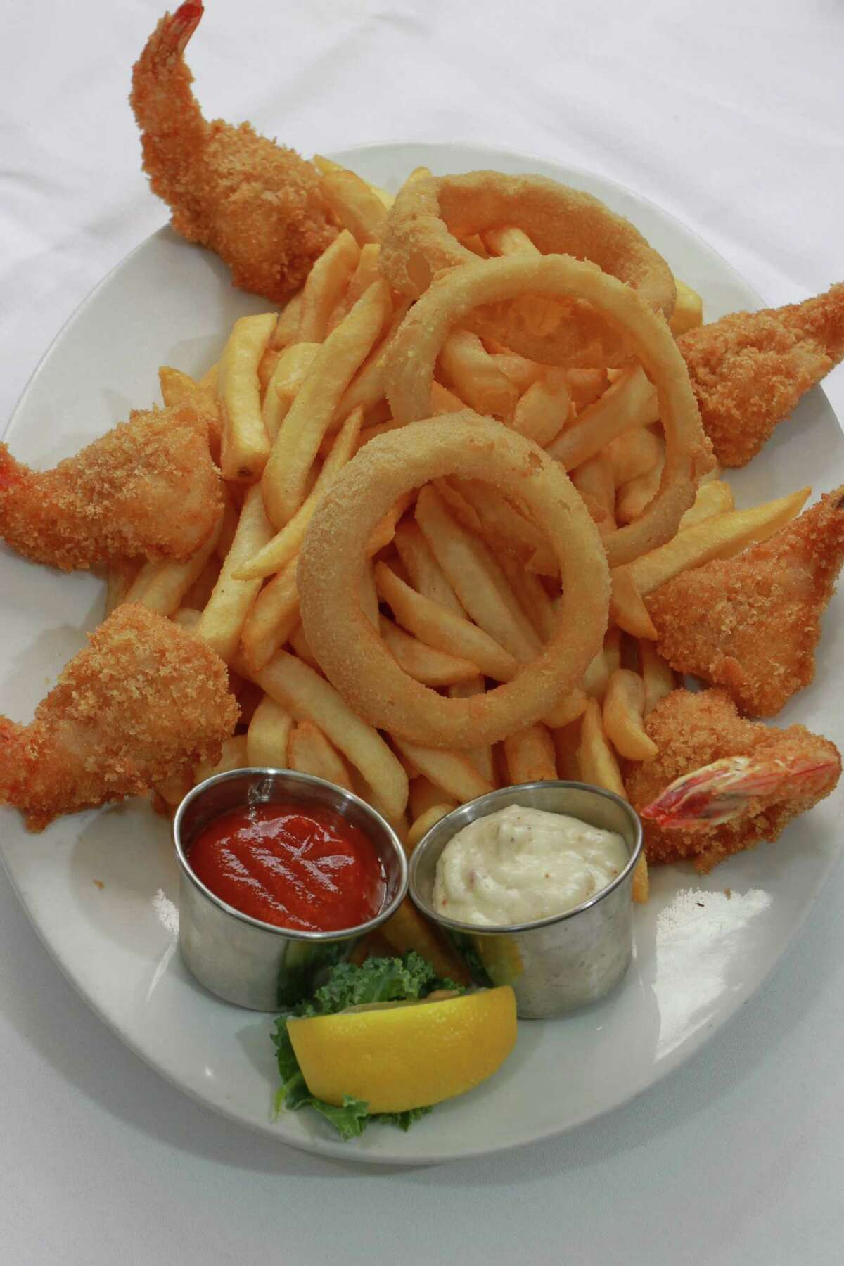 Famous Gulf Fried Shrimp with homemade remolaude and cocktail sauce at Christie's Steaks & Seafood.