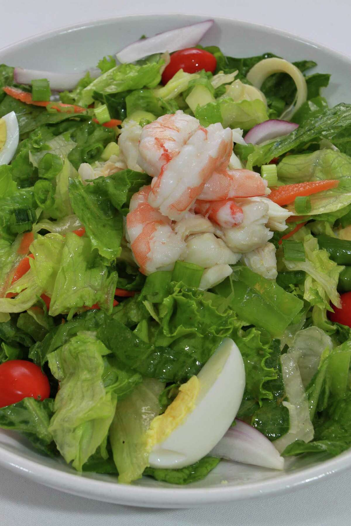 (For the Chronicle/Gary Fountain June 4, 2014) The Seafood Chopped Salad at Christie's Steaks & Seafood.