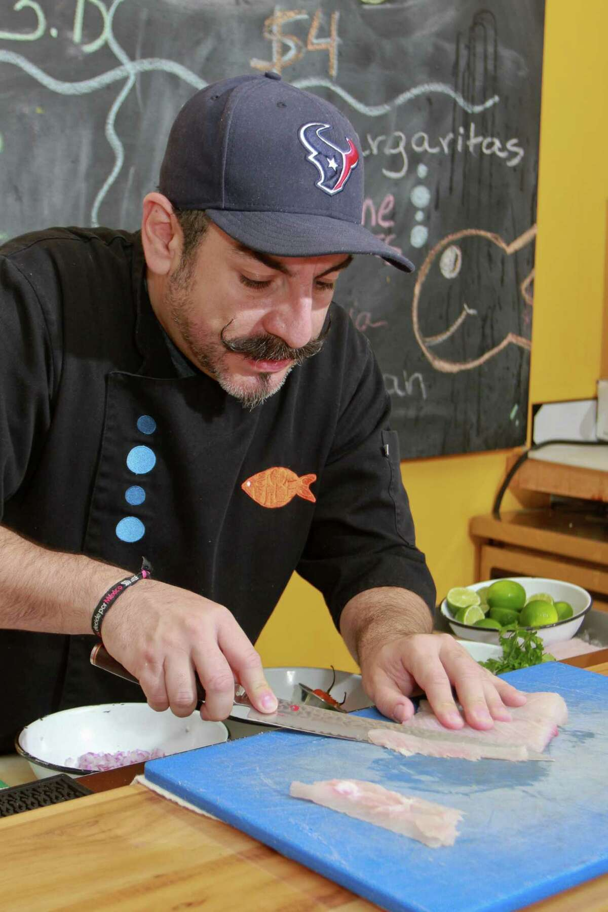 Chef Aquiles Chavez of La Fisheria restaurant, conducts a class on making ceviche.