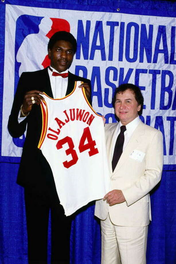 Houston Rockets  1st round - 1st overall  Hakeem Olajuwon - University of Houston  2-time NBA champion, 2-time Finals MVP, 1994 MVP, 12-time All-Star, NBA's all-time blocks leader (3,830). Olajuwon is regarded as one of the best centers to ever play. He was a dominant force on both ends of the court. He is the only player in NBA history to record more than 200 blocks and 200 steals in the same season. He is 1 of only 4 players to have recorded a quadruple-double in the NBA. He won an Olympic gold medal in the 1996 Games and is a member of the Basketball Hall of Fame. Photo: Noren Trotman, NBAE/Getty Images / 2002 NBAE