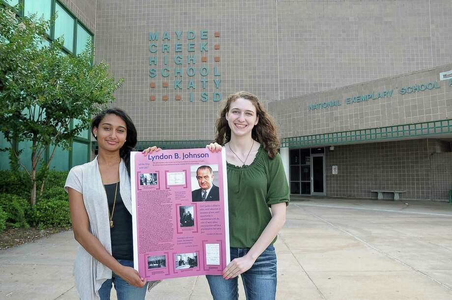 Sarah Mavad and Megan Myers won first place in the Humanities Texas President's Vision poster contest with their entry about U.S. President Lyndon B. Johnson.  Sarah Mavad and Megan Myers won first place in the Humanities Texas President's Vision poster contest with their entry about U.S. President Lyndon B. Johnson. Photo: Â Tony Bullard 2014, Freelance Photographer / © Tony Bullard & the Houston Chronicle