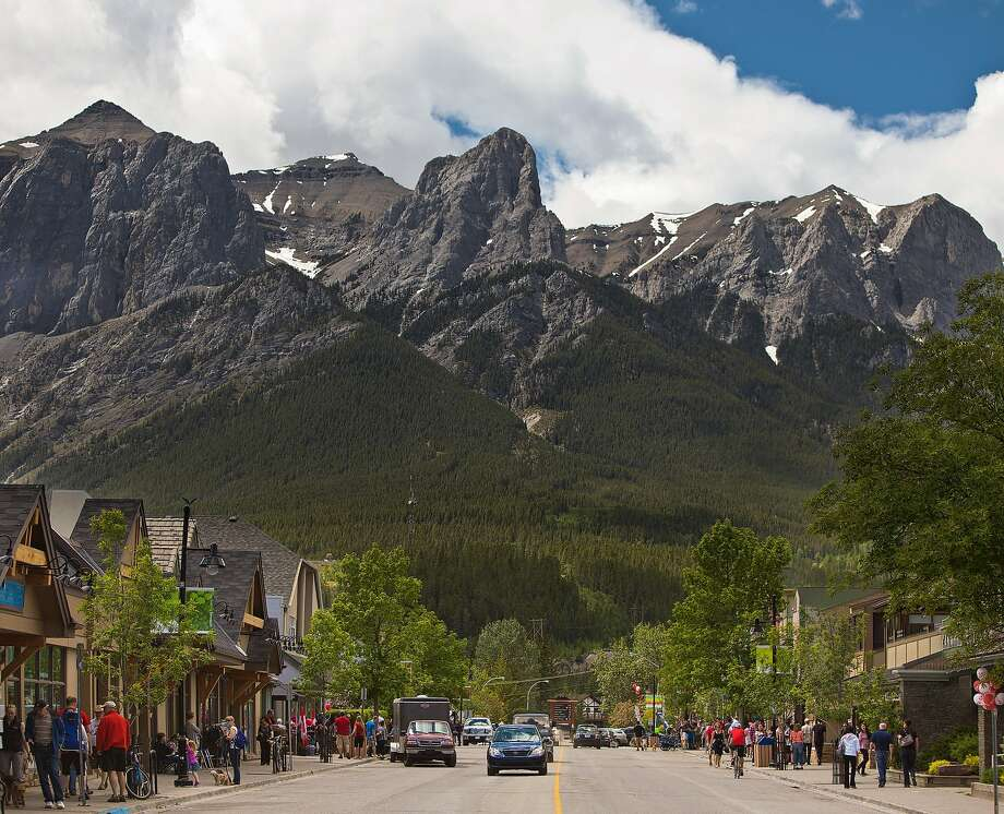 The many bikes that line Main Street in Canmore speak volumes about the kind of traveler the town attracts: outdoors adventurers. Photo: Tourism Canmore Kananaskis