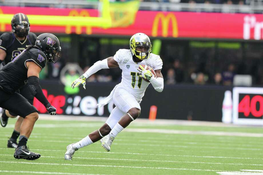 Oregon receiver and Hightower alumnus Bralon Addison is looking for a breakout season in 2014 after suffering an anterior cruciate ligament injury in 2013. Photo: Eric Evans / Eric Evans - 2013