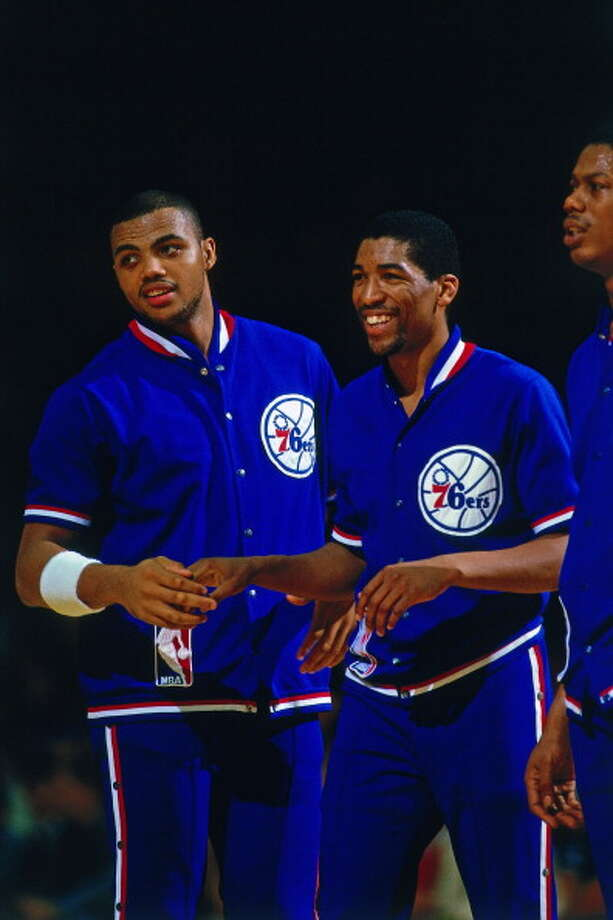 Philadelphia 76ers  1st round - 10th overall  Leon Wood - California State University - Fullerton Wood played for six different teams in his six-year NBA career. He also played overseas and won a gold medal with the U.S. in the 1984 Summer Olympics. Wood is currently an NBA referee. Photo: Ron Koch, NBAE/Getty Images / 1987 NBAE