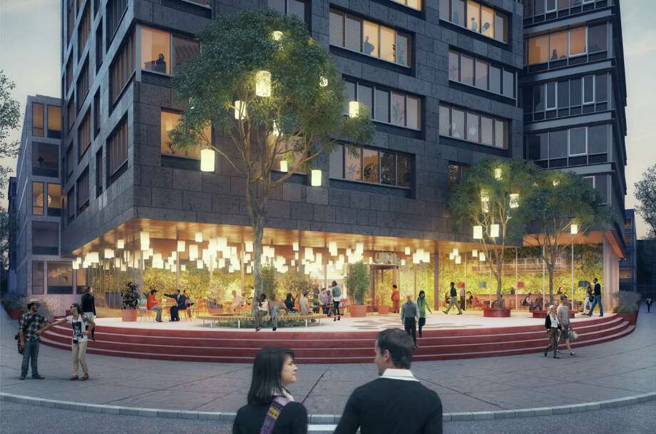 """Artist's rendering of a proposed cafe portion of the Urban Ready Living development planned to fill the current site of the city's """"hole in the ground"""" at the intersection of Tresser Boulevard and Greyrock Place. Photo: Contributed Photo / Stamford Advocate Contributed"""