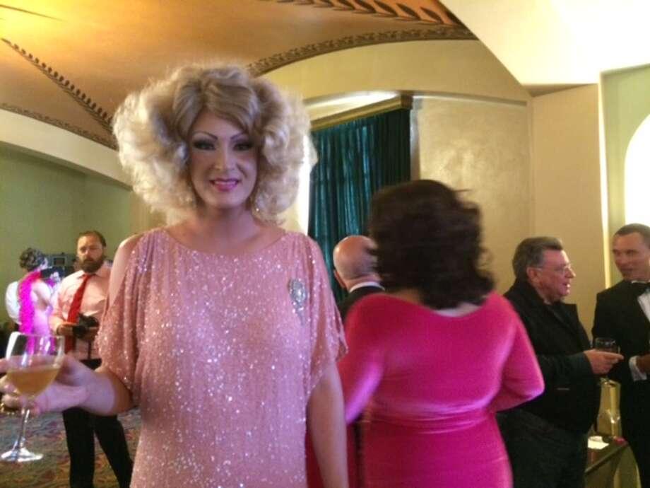 """Patty McGroin, 6'4"""" plus heels plus hair,  """"nearly 7 feet"""" tall, she says Photo: Leah Garchik"""