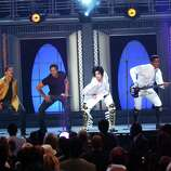 The Jackson Five reunited in full yet again in 2001 during Michael Jackson's 30th Anniversary Special in New York. From left to right, Tito Jackson, Marlon Jackson, Jackie Jackson, Michael Jackson, Jermaine Jackson and Randy Jackson of The Jacksons