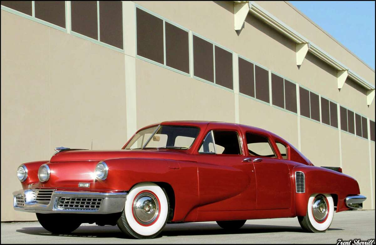 This red beauty is a 1948 Tucker No. 1050, on display at Dick's Classic Garage in San Marcos.