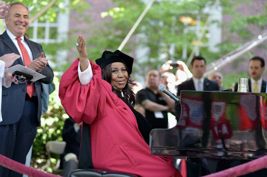 Aretha Franklin still performs today. Here she waves to the crowd at Harvard University's commencement after singing the National Anthem at the opening of the ceremony on May 29, 2014 in Cambridge, Massachusetts.  Franklin received an honorary doctorate from both Harvard and New York University this year. Photo: Paul Marotta, Getty / 2014 Paul Marotta