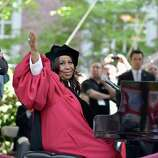 Aretha Franklin still performs today. Here she waves to the crowd at Harvard University's commencement after singing the National Anthem at the opening of the ceremony on May 29, 2014 in Cambridge, Massachusetts.  Franklin received an honorary doctorate from both Harvard and New York University this year.