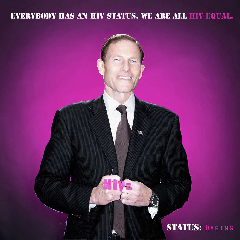 "U.S. Sen. Richard Blumenthal, D-Conn., is shown in a poster for the HIV Equal project (http://www.hivequal.org/) which aims to promote HIV testing. It willl be featured in the ""SameSex"" show at City Lights Gallery, which opens with a reception on Thursday evening, June 19. A street fair and parade are also planned. Photo: Contributed Photo / Connecticut Post Contributed"