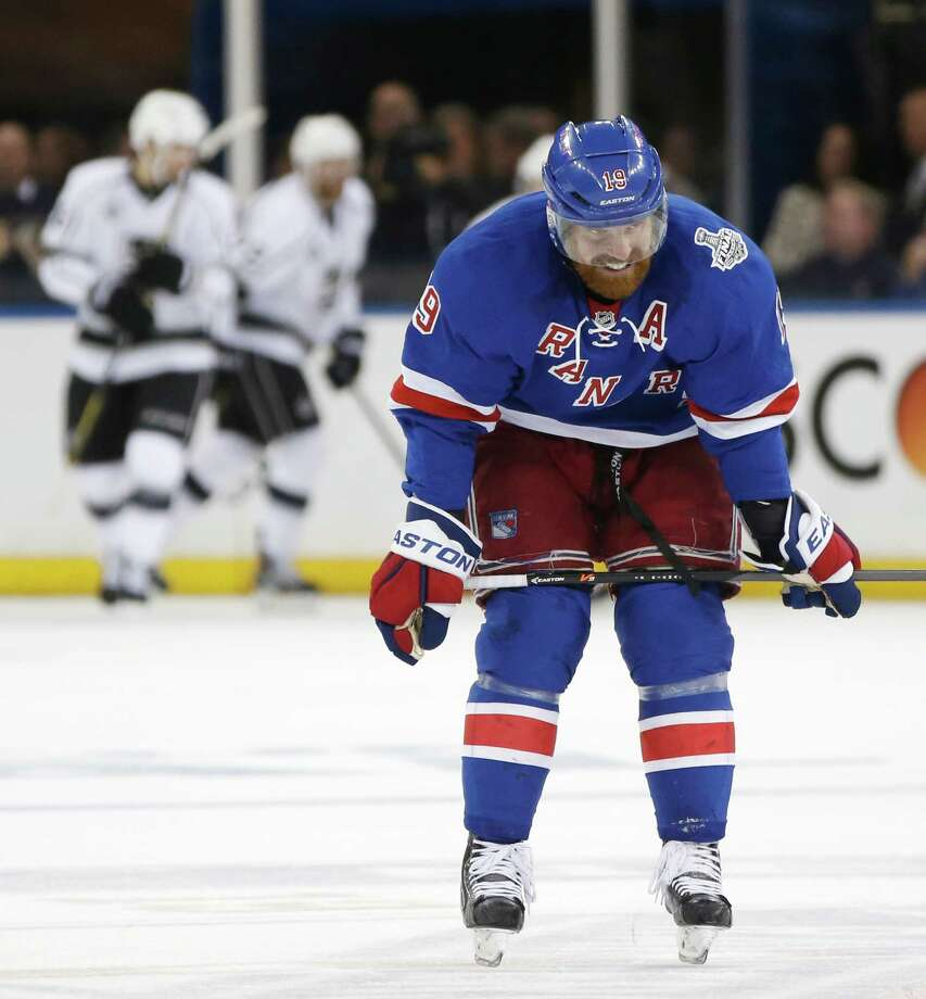 New York Rangers center Brad Richards (19) reacts after a second period goal by the Los Angeles Kings during Game 3 of the NHL hockey Stanley Cup Final, Monday, June 9, 2014, in New York. (AP Photo/Kathy Willens)  ORG XMIT: MSG131 Photo: Kathy Willens / AP
