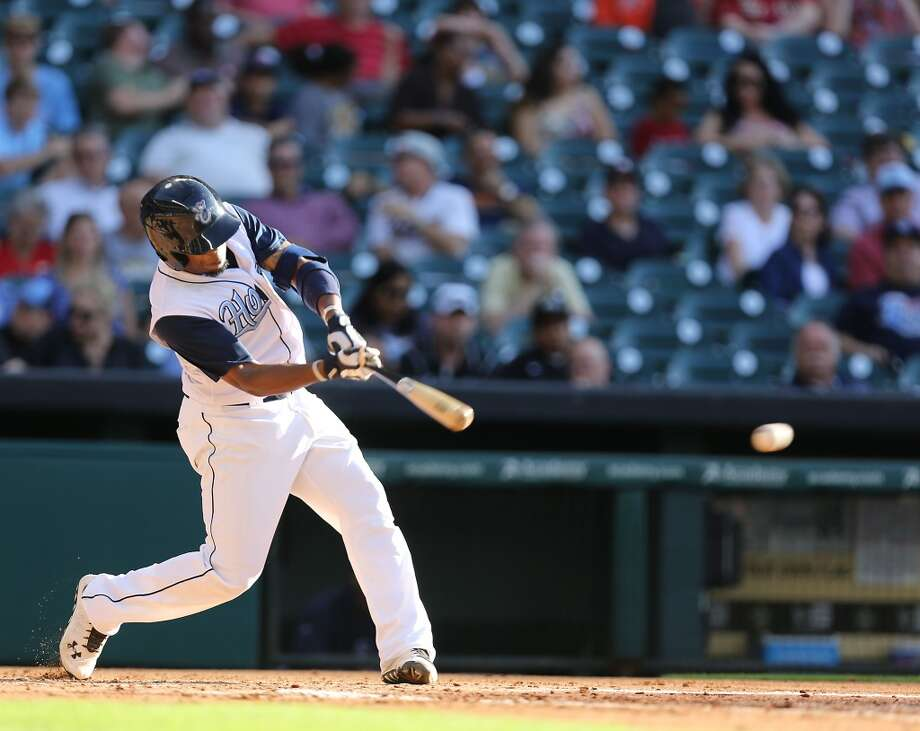 Corpus Christi Hooks Delino DeShields, Jr. hits the ball during the second inning of Minor League Baseball game action against the San Antonio Missions at Minute Maid Park Tuesday, June 10, 2014, in Houston. ( James Nielsen / Houston Chronicle ) Photo: James Nielsen, Houston Chronicle
