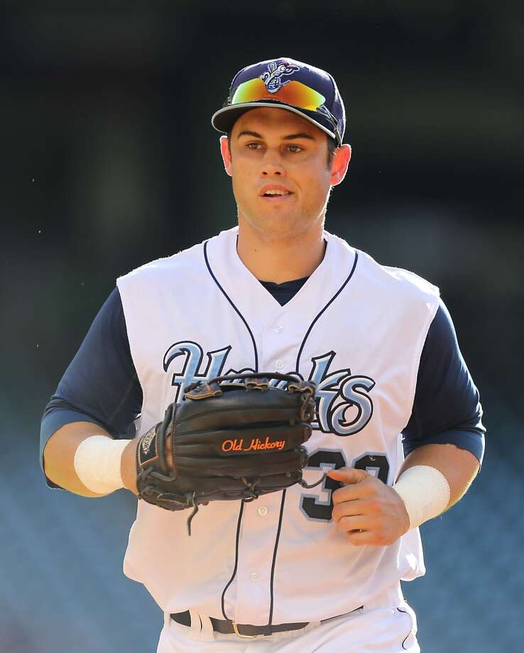 Corpus Christi Hooks Preston Tucker heads to the dugout during the second inning of Minor League Baseball game action against the San Antonio Missions at Minute Maid Park Tuesday, June 10, 2014, in Houston. ( James Nielsen / Houston Chronicle ) Photo: James Nielsen, Houston Chronicle