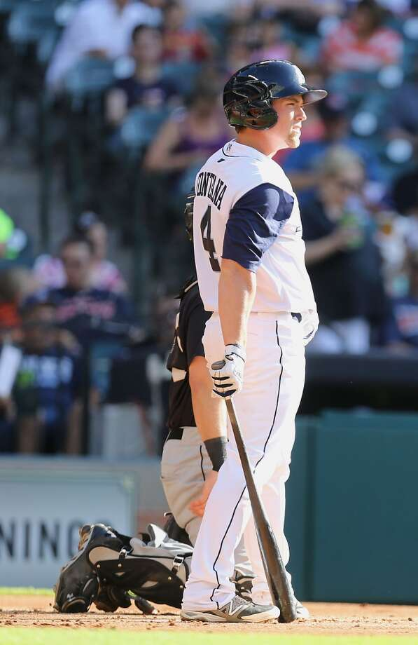 Corpus Christi Hooks Nolan Fontana stands in the batters box during the first inning of the Minor League Baseball game against the San Antonio Missions at Minute Maid Park Tuesday, June 10, 2014, in Houston.