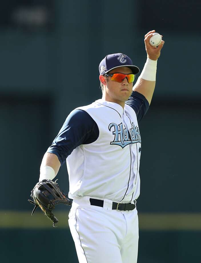 Corpus Christi Hooks Nolan Fontana warms up before facing the San Antonio Missions at Minute Maid Park Tuesday, June 10, 2014, in Houston. ( James Nielsen / Houston Chronicle ) Photo: James Nielsen, Houston Chronicle