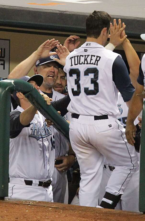 Corpus Christi Hooks Preston Tucker heads into the dugout after hitting a home run against San Antonio Missions during the eighth inning of Minor League Baseball game action at Minute Maid Park Tuesday, June 10, 2014, in Houston. ( James Nielsen / Houston Chronicle ) Photo: James Nielsen, Houston Chronicle