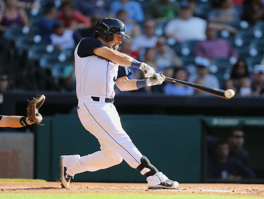Corpus Christi Hooks Andrew Aplin swings at the ball during the first inning of the Minor League Baseball game against the San Antonio Missions at Minute Maid Park Tuesday, June 10, 2014, in Houston. ( James Nielsen / Houston Chronicle ) Photo: James Nielsen, Houston Chronicle