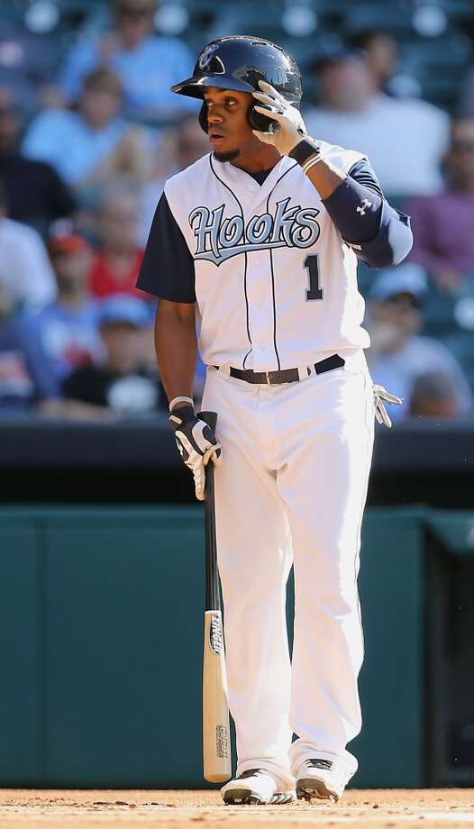 Corpus Christi Hooks Delino DeSheilds, Jr. stands in the batters box during the first inning of the Minor League Baseball game against the San Antonio Missions at Minute Maid Park Tuesday, June 10, 2014, in Houston. ( James Nielsen / Houston Chronicle ) Photo: James Nielsen, Houston Chronicle