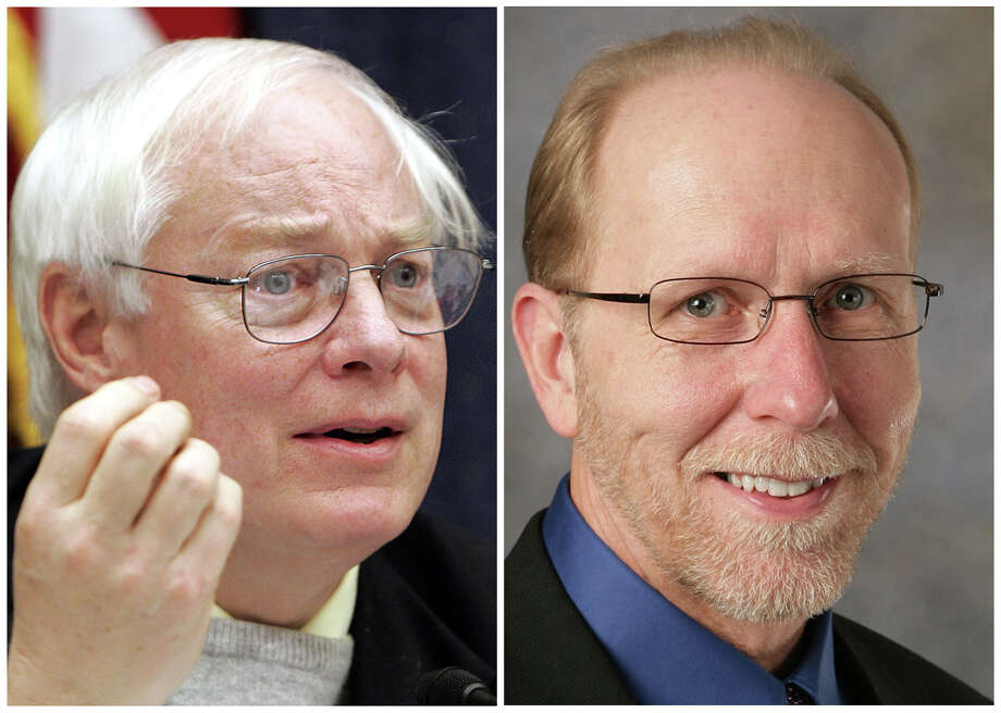 This combination of Associated Press file photos shows, left,  Jim Leach, R-Iowa, on Capitol Hill, Wednesday, Feb. 15, 2006, and right, an undated photo of  U.S. Rep. Dave Loebsack.  In 2006, fifteen-term incumbent Jim Leach was beaten by Dave Loebsack in the Iowa U.S. House race. Photo: File, AP / AP