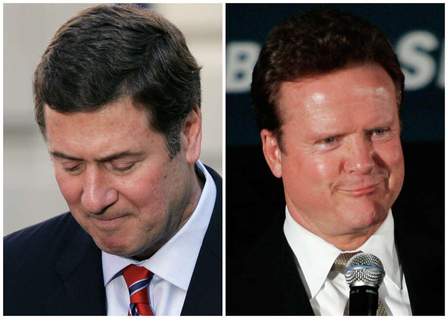 In this combination of Associated Press file photos Sen. George Allen, R-Va., left, concedes in Alexandria, Va. Thursday, Nov. 9, 2006, and right, Jim Webb, D-Va., gestures during remarks at an election night event Tuesday, Nov. 7, 2006 in Vienna, Va. Allen, then considered a potential 2008 presidential candidate, lost to former Navy Secretary Jim Webb by less than 10,000 votes. Photo: File, AP / AP
