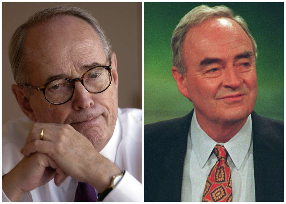 In this combination of Associated Press file photos former U.S. Attorney Dick Thornburgh, left, ponders a question during an interview on Oct. 28. 2003, in San Francisco and U.S. Sen Harris Wofford, right, smiles at the Democratic National Convention July 15, 1992, in New York. In 1991 Wofford came from more than 40 points behind to defeat former Pennsylvania Gov. Dick Thornburgh to hold onto a senate seat he was appointed to after the death of Sen. John Heinz in a plane crash. Photo: File, AP / AP