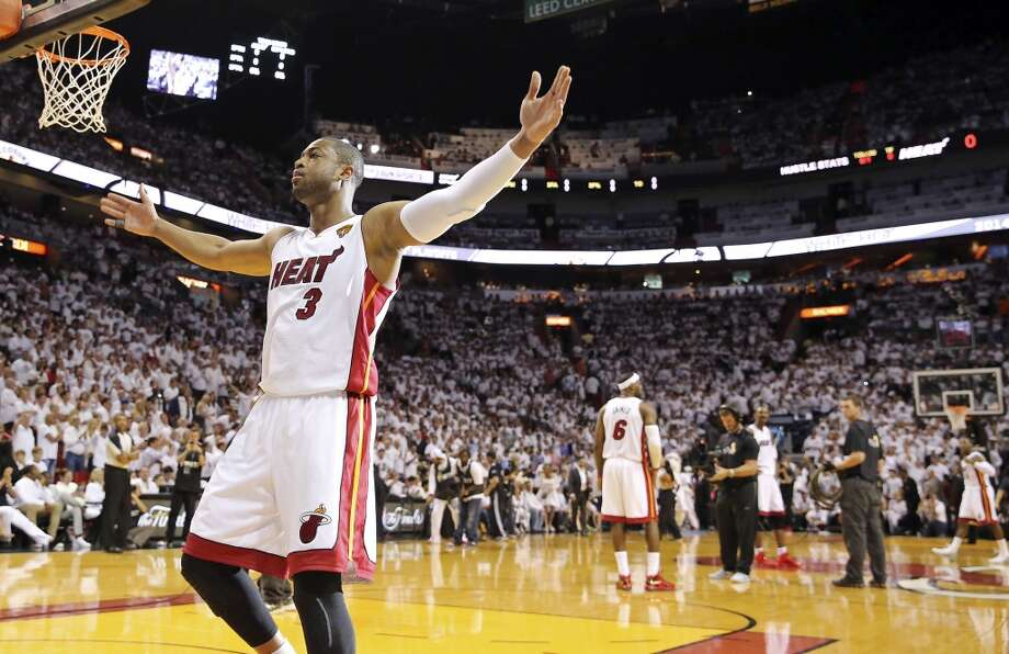 Miami Heat's Dwyane Wade reacts before Game 3 of the NBA Finals against the San Antonio Spurs Tuesday June 10, 2014 at American Airlines Arena in Miami, Fla. Photo: Edward A. Ornelas, San Antonio Express-News