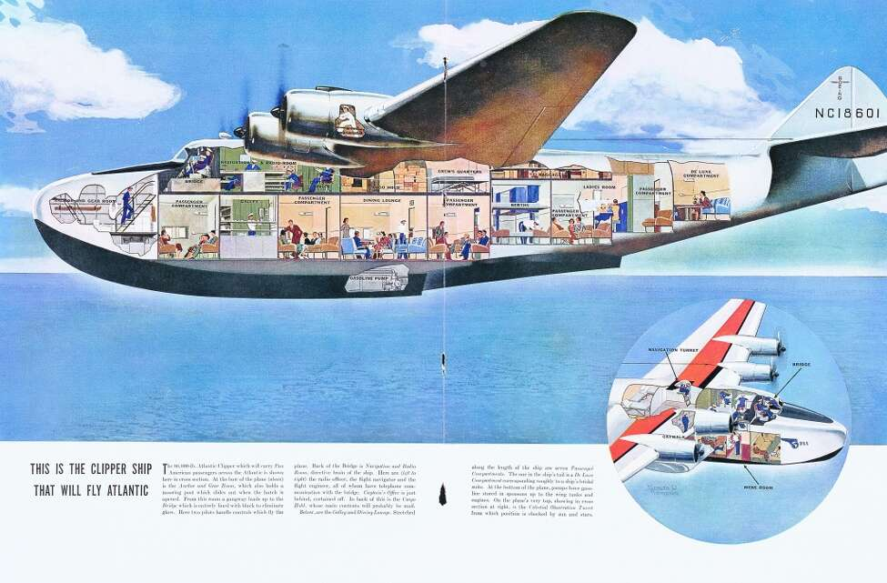 A cutaway of the giant Boeing 314 shows air travel at its most civilized, from the passenger compartments and dining lounge to the ladies' powder room and a deluxe stateroom at the tail of the plane.