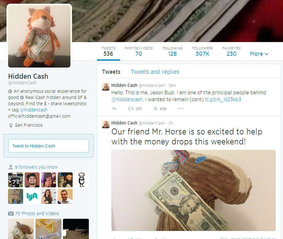 So far Hidden Cash has left over $15,000 in public for the public to find via clues the organizers post on its Twitter feed.