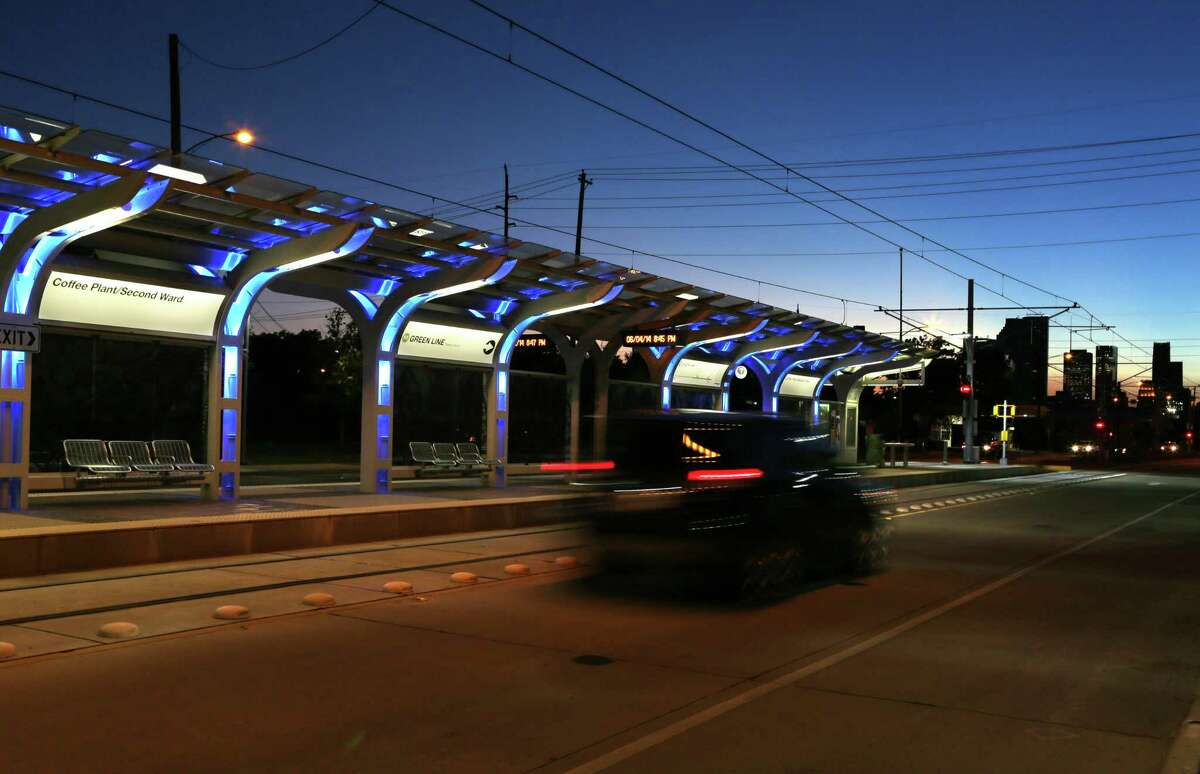 MetroRail's new line runs along Harrisburg through the Second Ward in the East End of Houston.