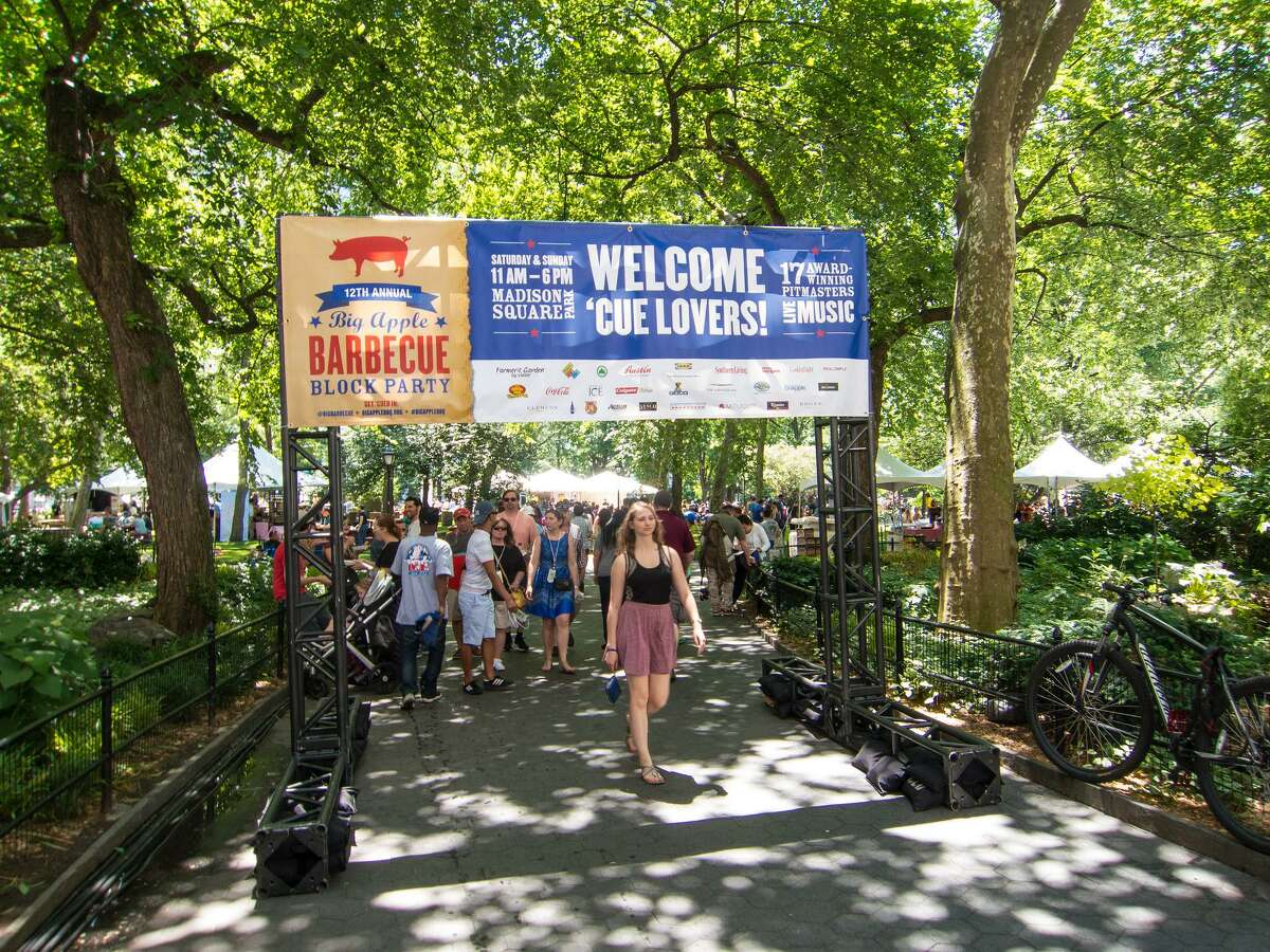 The entrance to the Big Apple Barbecue Block Party in New York City welcomed barbecue lovers.