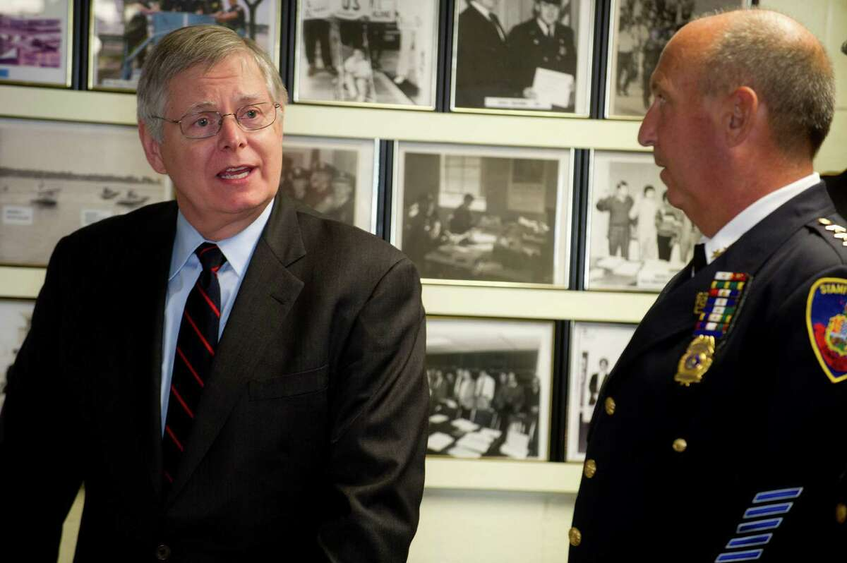 Stamford Mayor David Martin speaks during a ceremony to swear in new police sergeants Wednesday at police headquarters in Stamford, Conn., on June 11, 2014.