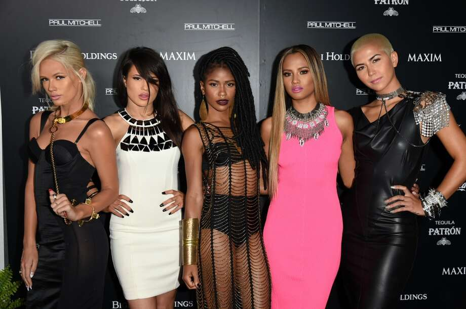 (L-R) Singers Lauren Bennett, Natasha Slayton, Simone Battle, Emmalyn Estrada and Paula Van Oppen of G.R.L. attend Maxim's Hot 100 Women of 2014 celebration and sneak peek of the future of Maxim at Pacific Design Center on June 10, 2014 in West Hollywood, California. Photo: Jason Merritt, Getty Images For MAXIM