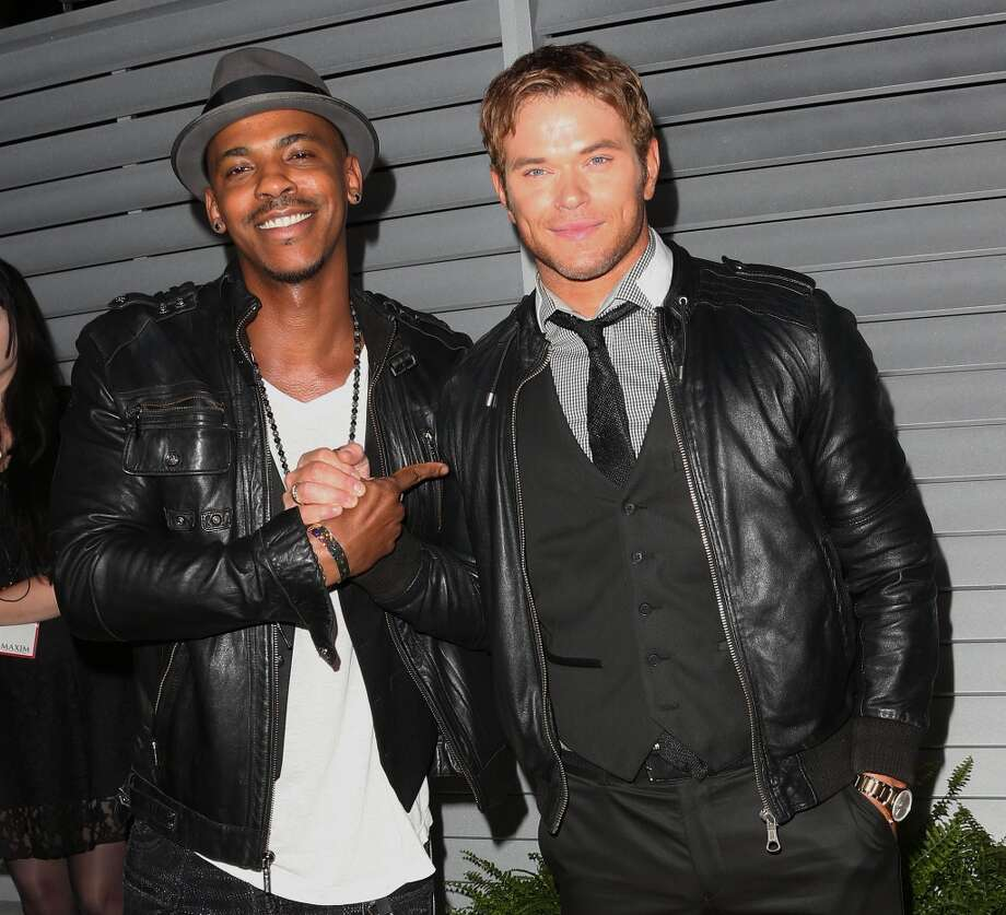Actors Mechad Brooks (L) and Kellan Lutz attend Maxim Hot 100 Event at the Pacific Design Center on June 10, 2014 in West Hollywood, California. Photo: Frederick M. Brown, Getty Images