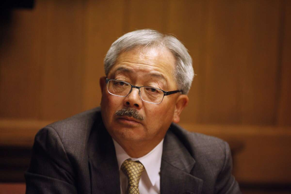 San Francisco Mayor Ed Lee speaks to members of the San Francisco Chronicle editorial board during a meeting on April 22, 2014 in San Francisco, Calif.