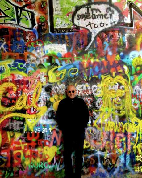 Bob Cavnar in front of the John Lennon wall in Prague in May 2014. Photo: Gracie Cavnar / ONLINE_YES