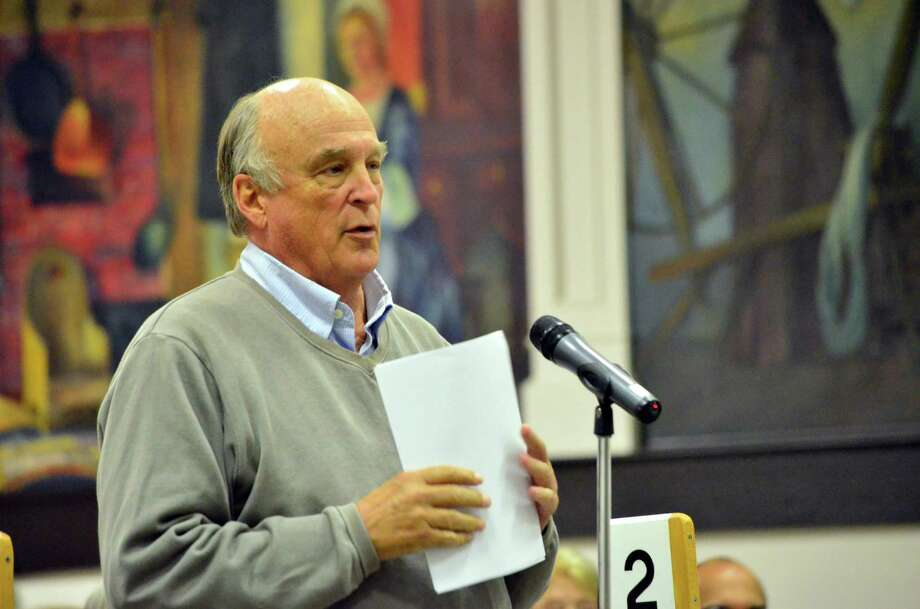 Fred Conze of the RTM made a motion to amend the acceptance of the Darien Athletic Fund's gift of $4 million turf fields at Darien High School. hiis amendment was not approved. Photo: Megan Spicer / Darien News