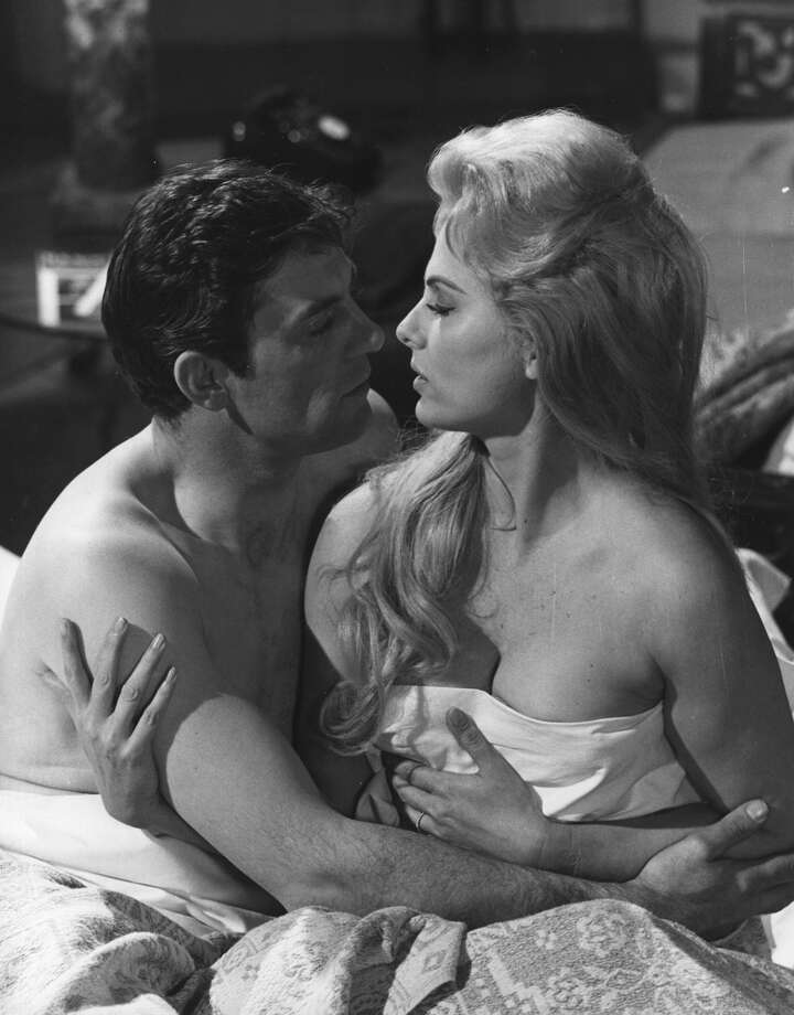 "Martha Hyer romances John Ronane in a scene from the film ""They Also Kill,"" 1967. Photo: Fox Photos, Getty Images / Moviepix"