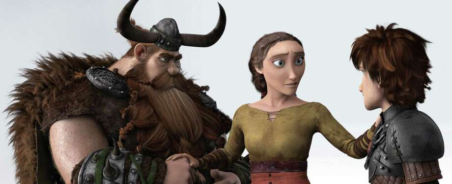 "Stoick (from left), voiced by Gerard Butler, Valka, voiced by Cate Blanchett and Hiccup, voiced by Jay Baruchel, in a scene from ""How To Train Your Dragon 2."" Photo: DreamWorks Animation / DreamWorks Animation"