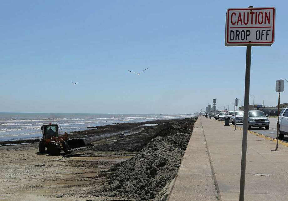 A wheel loader pushes seaweed into mounds on the beaches along Seawall Boulevard Wednesday, June 11, 2014, in Galveston. Photo: James Nielsen, Houston Chronicle / © 2014  Houston Chronicle