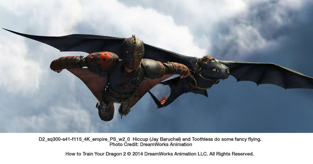 Hiccup (Jay Baruchel) and Toothless do some fancy flying in,