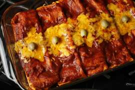 Classic Red Enchiladas as seen in San Francisco, California on Wednesday, May 29, 2014. Food styled by Lynne Char Bennett.
