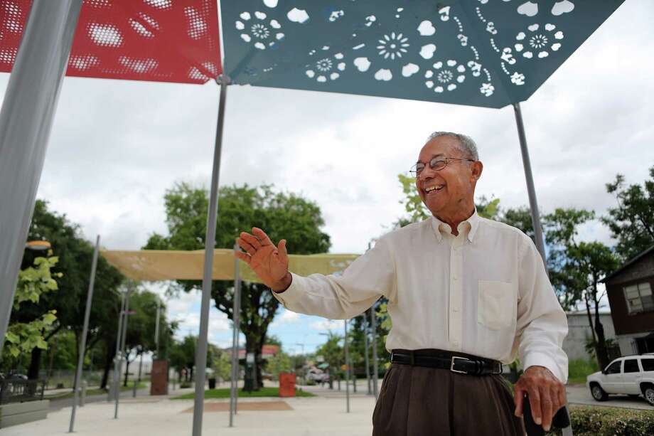Felix Fraga, a long time Second Ward resident, waves at a friend while standing on the Navigation Esplanade on June 3, 2014, in Houston, Tx. Photo: Mayra Beltran, Houston Chronicle / © 2014 Houston Chronicle